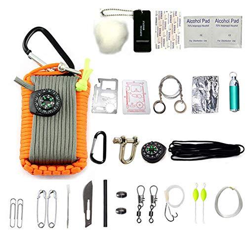 HW Kit De Survie d'urgence, 29 en 1 Ensembles De Premiers Soins De La Grenade Paracord Mini-Sifflet Ensemble De Démarrage du Survival Baits Compass,Orange