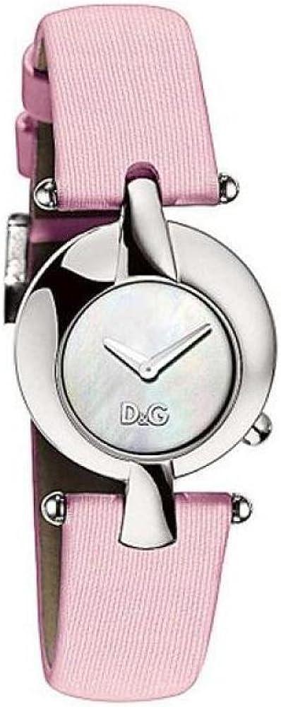 Dolce & gabbana,orologio per donna,cassa in acciaio e cinturino in gross-grain fibbia personalizzata d&g DW0457