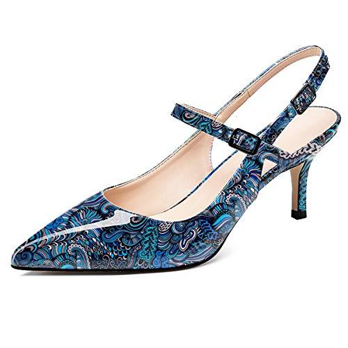 elashe Scarpe con Tacco Donna Gattino Cinturino Regolabile Scarpe Tacco Gattino 2.6' Medio Tacco Fiore-Blu EU35