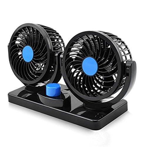 JINGBO Ventilador del Coche eléctrico, Doble Cabeza 2 Velocidad 12V Aire de...