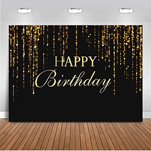 Mocsicka Happy Birthday Backdrop 7x5ft Vinyl 30th 40th 50th 60th Birthday Party Decoration Banner Photography Background Black and Gold Birthday Photo Booth Backdrops