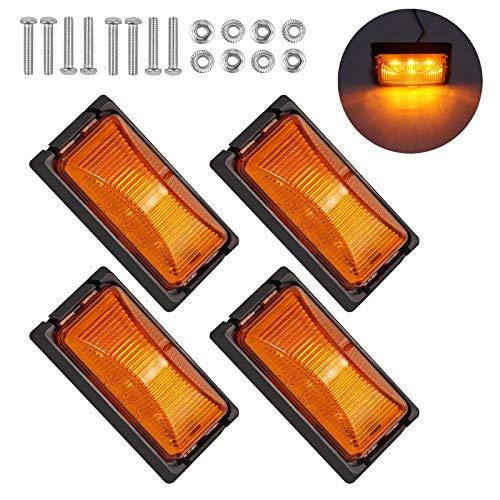 Justech 4PCs 6LED Luces Laterales para Remolque LED Lámparas de Coche 12V/ 24V con E-Mark Luces de...