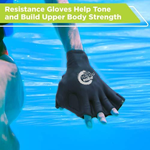 New & Improved AQUA 6 Piece Fitness Set for Water Aerobics, Pool Exercise Equipment, Aquatic Swim Belt, Resistance Gloves, Barbells, Model:AF4730 4
