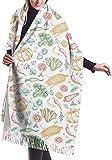 Bufanda de cachemira de mujer con patrón de verduras,Bufanda de invierno con borla clásica,Chal grande de abrigo de manta XXX