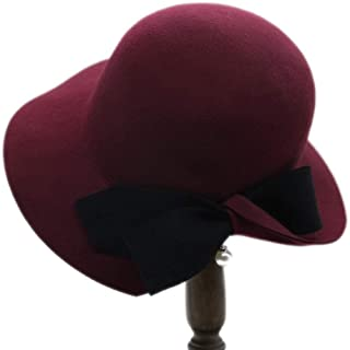 SYLOZ Women's Woolen Hat, Dome Retro Top Hat, Wild Autumn and Winter British Women's Hat (Color : Red)