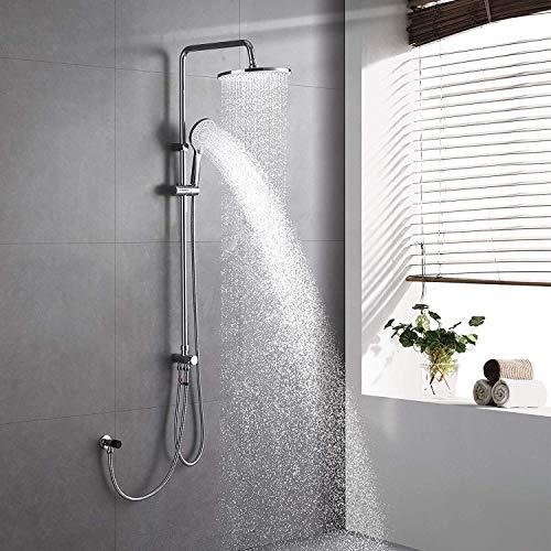 Lonheo Regendusche ohne Armatur, 3 Funktionen Duschset Duschsystem inkl 10 Zoll Duschkopf und 3 Strahlarten Handbrause für zwei Personen