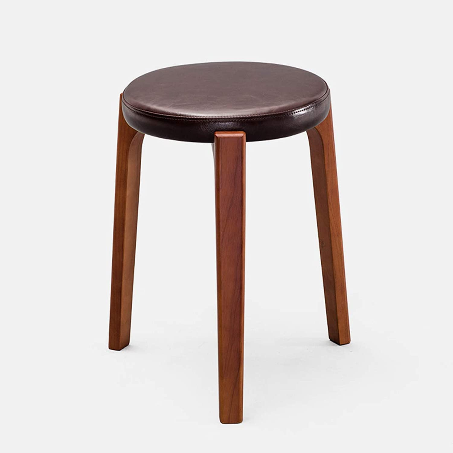 HLQW Creative Small Stool, Solid Wooden Dining Stool, Square Stool, Dressing Stool, Simple Fashionable Dressing Stool, Bench, Household Stool, Brown Leg 5