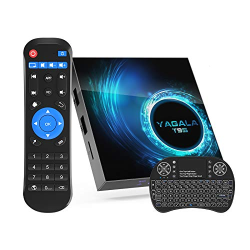 Android TV Box 10.0, T95 Quad-core 64 Bits 4GB RAM 32GB ROM 6K 3D 2.4/5.0GHz Dual WiFi BT5.0 Ethernet DLNA HD H.265 Smart TV Box with Mini Keyboard [2020 New]