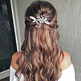 Zoestar - Horquillas para el pelo de novia con flores plateadas (2 unidades)