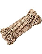 Wolike Cuerda de cáñamo, cuerda de 6/8/10/12/14/16 mm de grosor, cuerda natural fuerte, cuerda de yute para manualidades, cuerda de rascado de gatos/agrupación de jardín (10 m/32 pies)