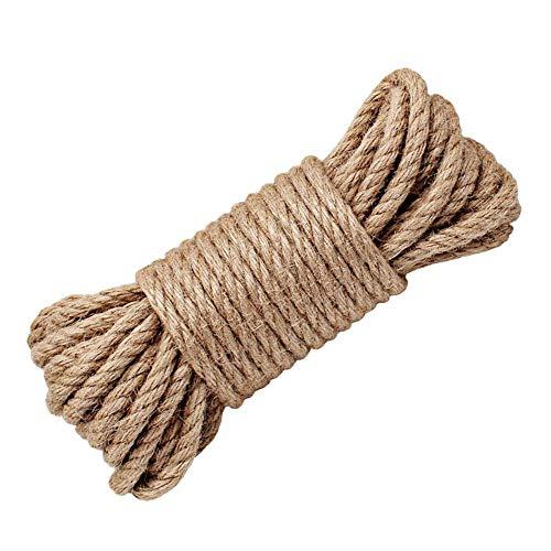 Wolike Corde en chanvre naturelle et solide Épaisseur 6 / 8 / 10 / 12 / 14 / 16 mm pour travaux manuels, jardin, griffoir pour chat (10 m), 6 mm