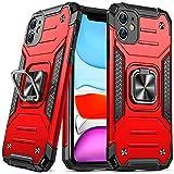 DASFOND Diseñado para Funda iPhone 11, Funda Protectora para teléfono de Grado Militar con Soporte Mejorado [Soporte magnético] para iPhone 11 6.1 '', Rojo