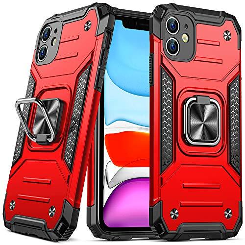 DASFOND Armor Hülle für iPhone 11 Mit Kameraschutz Hülle Militärische Stoßfeste Handyhülle [Upgrade 2.0] 360 ° Ständer Cover für Auto Magnet,Rot