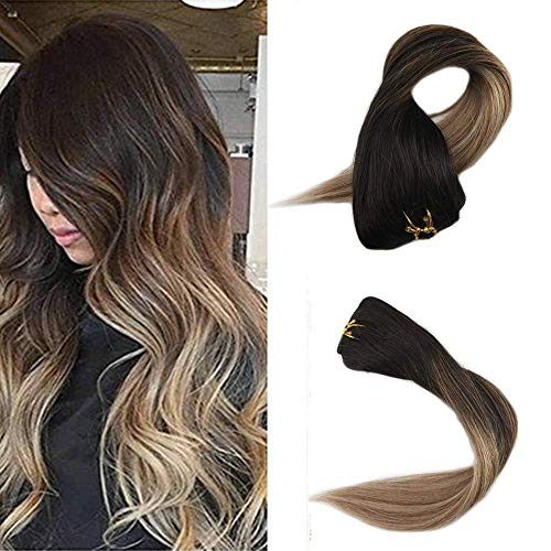 Human Hair Clip Ins Full Shine Clip In Hair Extensions Double Wefted Hair 20 Inch Clip In Natural Hair Full Head Color 2 Brown Fading To 6 and 18 Ash Blonde Balayage Extensions 7 Pcs [Only 50 Grams]