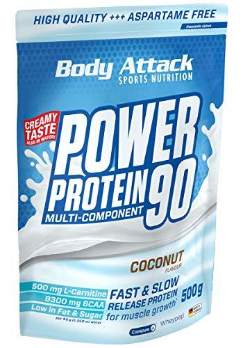 Body Attack Power Protein 90, 5K Eiweißpulver mit Whey-Protein, L-Carnitin und BCAA für Muskelaufbau und Fitness, Made in Germany (Coconut Cream, 500g)