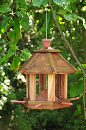 Vogelhaus, Vogelhäuschen, (TEAK) DUNKELBRAUN,dbraun ,,Vogelhäuser+Vogelhaus, Vogelhäuschenständer,MASSIV+ winterfest,Holz für Vögel,mit Vogelfutter-Station Farbe braun dunkelbraun schokobraun rusti