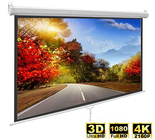 Professionele thuisbioscoop en zakengebruik, uittrekbaar rolgordijn, canvas, presentatielinnen mat wit met glasparelweefsel diffus reflecterend en zwarte omranding, 2,34 x 1,32 meter, 1:19 4K Full HD 3D