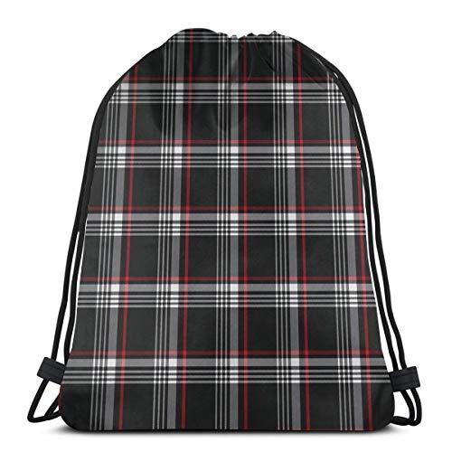 Elsaone Golf GTI Plaid Black Gym Sack Tasche Kordelzug Rucksack Polyester Sporttasche für Männer Frauen 36 x 43 cm / 14,2 x 16,9 Zoll