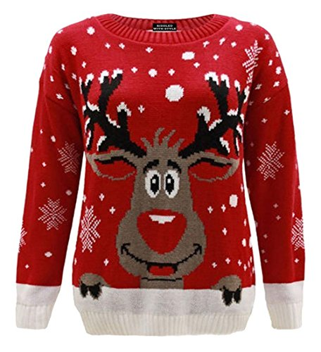 Worldwidetrendz Womens Knitted Rudolf Reindeer Ladies Xmas Christmas Pullover TOP Novelty