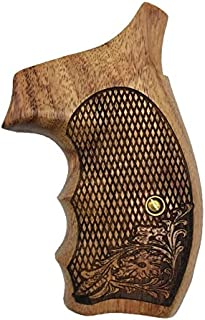 handicraftgrips NRW26## New Smith & Wesson S&W N Frame Round Butt Grips 22 25 29 325 327 329 520 610 625 627 629 Hard Wood Laser Logo Engraved Checkered Finger Groove Handcraft Special Birthday Gift