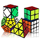 KidsPark Magic Speed Cube Set 2x2 3x3 Pyramid Pyraminx Megaminx Skew Magic Cube, Adhesivo de PVC Liso 3D Magic Puzzle Cube Bundle Cubo Mágico para Niños y Adultos, Paquete de 5