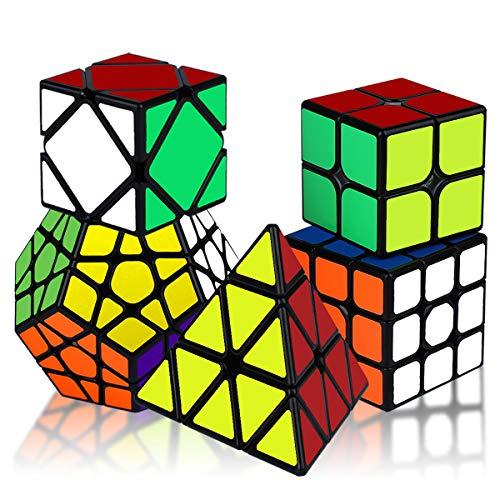 KidsPark Magic Speed Cube Set 2x2 3x3 Pyramid Pyraminx Megaminx Skew Magic Cube, Adhesivo de PVC Liso 3D Magic Puzzle Cube Bundle Cubo Mágico para Niños y Adultos, Paquete de 5