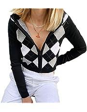 SMIMGO Y2k Mode Esthetische Kleding V-hals Jumper Gebreide Plaid Vintage Trui Vest Cami Tops 90 s Esthetische Herfst Kleding Voor Vrouwen