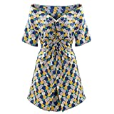 Women's Off Shoulder Short Sleeve Front Twist Knot Elastic Waist Floral Split Hem Midi Dress (Blue, Large)