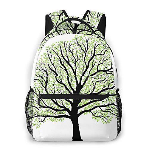 MEJX Mochila Paquete de Almacenamiento,Gran árbol con follaje verde muchas hojas en blanco,Casual Bolsa de Estudiantes de la Escuela Mochila Portátil de Viaje