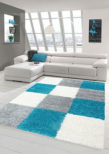 Shaggy Teppich Hochflor Langflor Teppich Wohnzimmer Teppich Gemustert in Karo Design Türkis Grau Creme Größe 120x170 cm