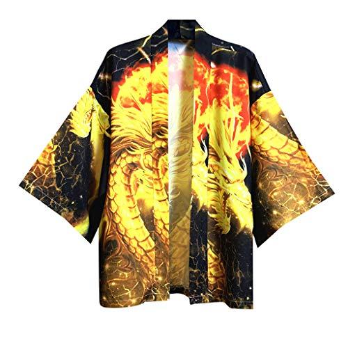 Dasongff Unisex Kimono Samurai Mantel mit 3D Ausdruck Japanische Frühling-Sommer Kimonos Cardigan Jacke Nachthemd Bademantel Nachtwäsche Baggy Tops Strandhemd Übergangsjacke