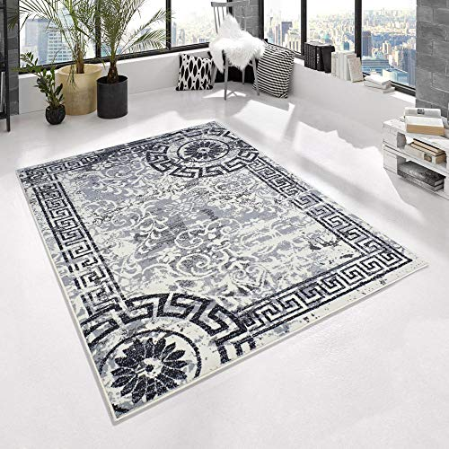 Kurzflor Teppich TOSKANA Mandala Kreise Bordüre mit Versace Muster meliert, Farbe:Creme, Größe:80x150 cm
