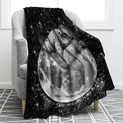 "Jekeno Sloth Sleep Moon Blanket Black Soft Warm Print Throw Blanket for Couch Bed Chair Office Sofa 50""x60"""
