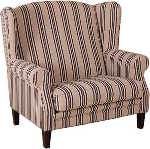 Casa Padrino Ohrensessel 1 1/2 Sitzer Creme Streifen - Sessel Möbel Hotel & Lounge Einrichtung