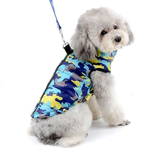 SELMAI Jacke/Mantel für Kleine Hunde Wasserdicht Hundmantel mit D-Ring Geschirr Fleecejacke Camouflage für Hunde Katze Kostüm Warme Haustierkleidung für den Winter Blaue Camouflage L
