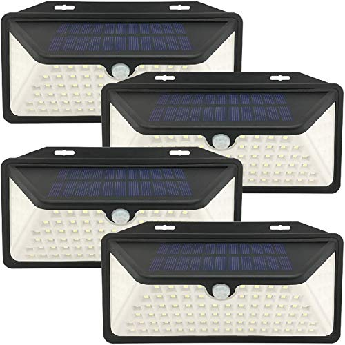 WBM Smart Solar Lights Outdoor 100 Led Wall Lights With 3 Modes, Ip65 Waterproof, Easy-To-Install Security Lights for Front Door, Yd, Garage, Deck, Pack of 4, White