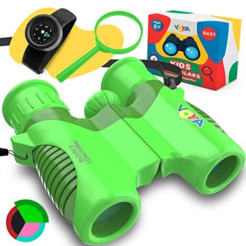 VOYAgers grupo prismáticos reales para niños de alta resolución 8 x 21 con correa ancha y ajustable para el cuello, pulsera y lupa para niños, el mejor regalo para niños y niñas de 3 a 14 años