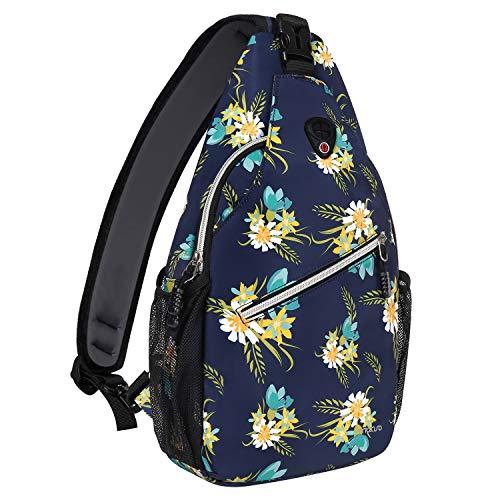 MOSISO Sling Backpack,Travel Hiking Daypack Pattern Rope Crossbody Shoulder Bag, Navy Blue Base Yellow Floral