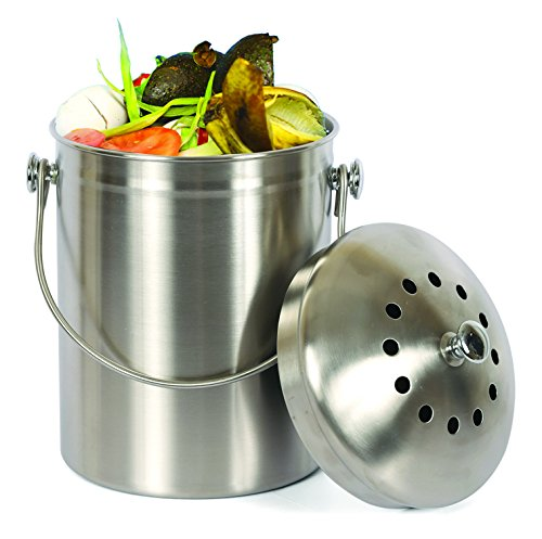 Estilo Stainless Steel Compost Pail, 1 Gallon Compost Bin, 2 Free Odor...