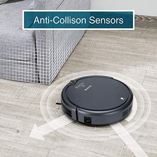 Robot Vacuum Cleaner Powerful Suction, Automatic Self-Charging, Filter Pet Hair, Daily Schedule, Drop Sensing, Slim Design Hard Surface Floors Wood Floors Tile, Upgraded (Grey)
