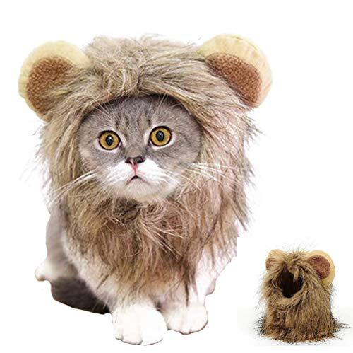 HAMISS - Peluca de Melena de león para Gato, Perro, Halloween, Ropa de Navidad con Orejas para Mascotas