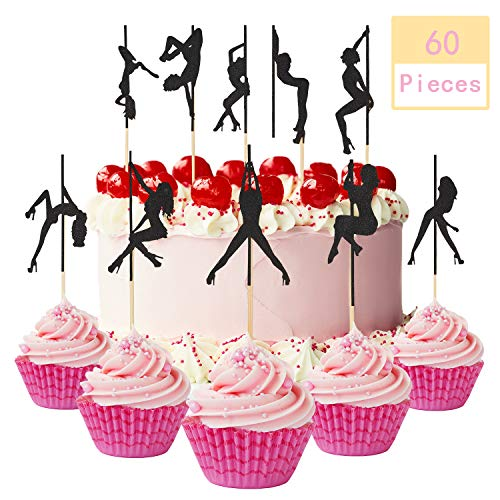 Jetec 60 Piece Strippers Cupcake Toppers Pole Dance Girl Silhouette Birthday Cake Decoration for Bachelor Party Bride Groom Bridal