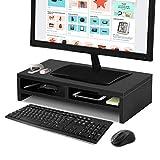 Greensen Bildschirm-Ständer, Monitorständer Monitorerhöhung mit Schublade Schwarz Bildschirm Ständer Laptop Ständer mit Lagerregalen Laptop-Druckerständer Monitor Ständer für Computer PC