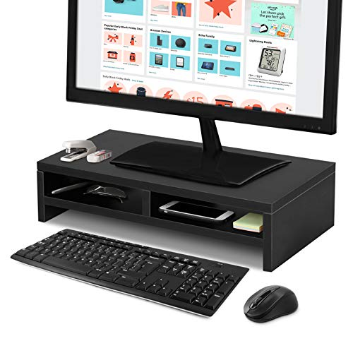 Computer Desktop Monitor Stand Riser with Storage Portable Monitor and Printer Stand Desk Organizer Computer Stand for Desktop Monitor for Laptop PC Stand Riser 19.68In Black