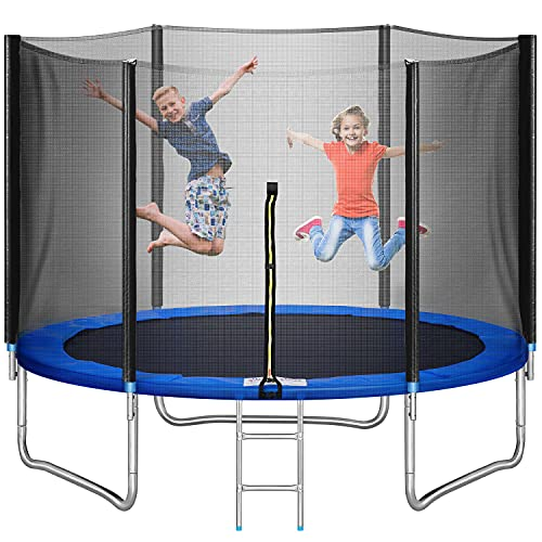10 FT Trampoline with Safety Enclosure Net,Recreational Trampoline Jumping Mat and Spring Cover Padding,Heavy Duty Load for Kids and Adults, Indoor Outdoor Exercise Fitness (Black)