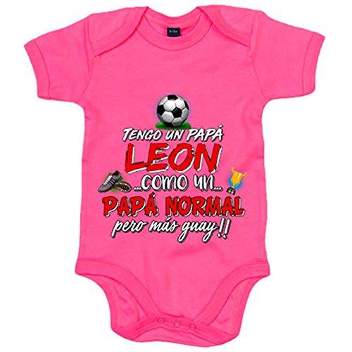 Body bebé tengo un papá león del Athletic como un papá normal pero más guay - Rosa, Talla única 12 meses