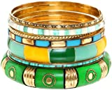 Ace Of Diamonds Colored Floral and Rhinestone Stacked Bangle Bracelet (Bohemian Queen)