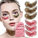 Reusable Eye Gel Ice Pack for Cooling or Warming Eyes and Face Eye Treatment Mask Relieve Eye Fatigue Under Eye Mask with Anti-Aging Gift for Women and Men 6 Packs (Pink and Golden)