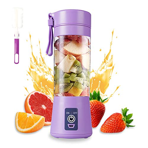 Portable Blender Cup,Electric USB Juicer Blender,Mini Blender Portable Blender For Shakes and Smoothies, juice,380ml, Six Blades for Great Mixing,light purple