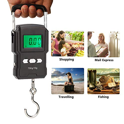 YYGJ Portable Electronic Hook Scale Digital Hanging Bag Luggage Weight Scale Fishing Scale with Measuring Tape 165Lb Black